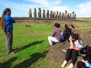 Rapa Nui students learning about Easter Island heritage