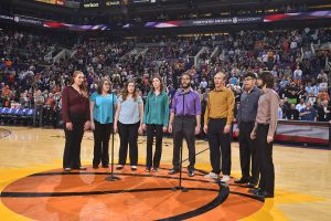 Vocal octet at Suns game