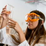 Female NAU student working in chemistry lab