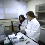 Corina Kellner and Taylor Lambrigger in forensic science lab
