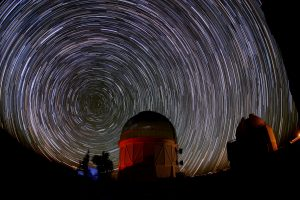 Cerro Tololo Observatory and star trails