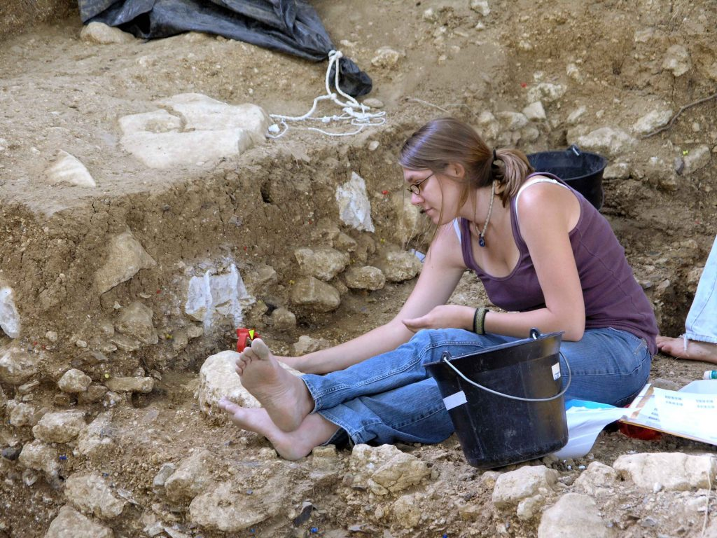 Chrissina Burke at excavation site in France