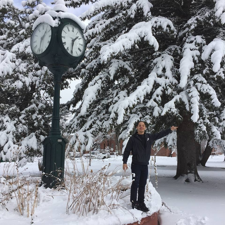 Kynan's first snow.