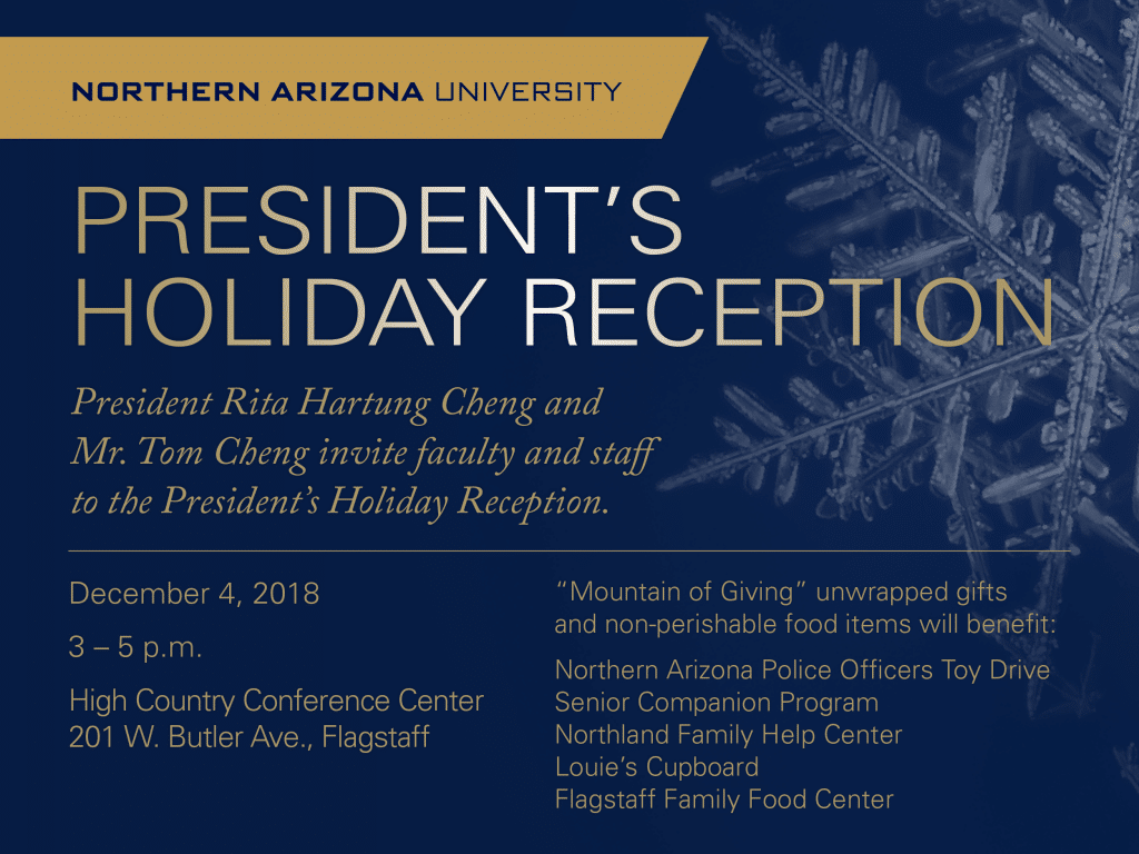 Flyer for the President's Holiday Reception