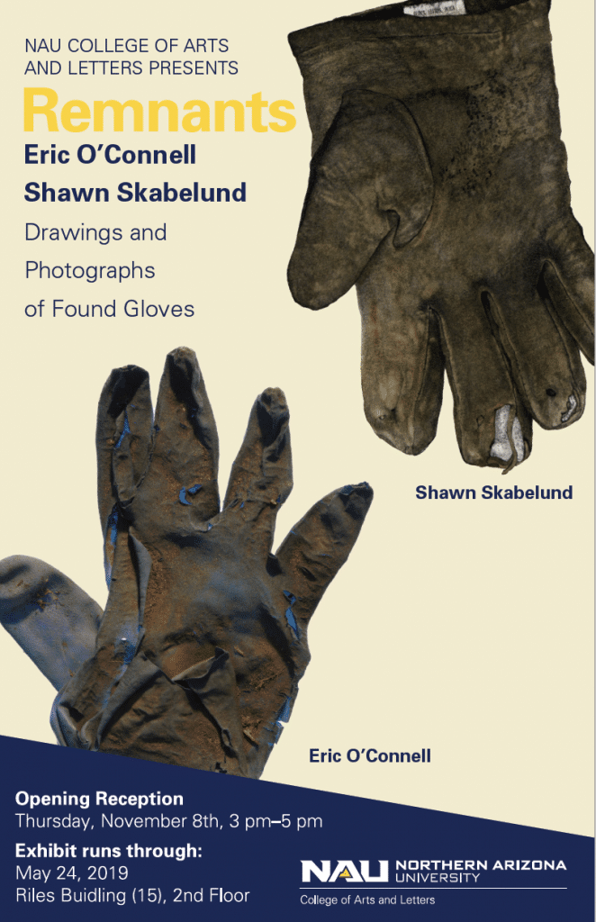 """Remnants: Drawing & Photographs of Found Gloves"" poster"