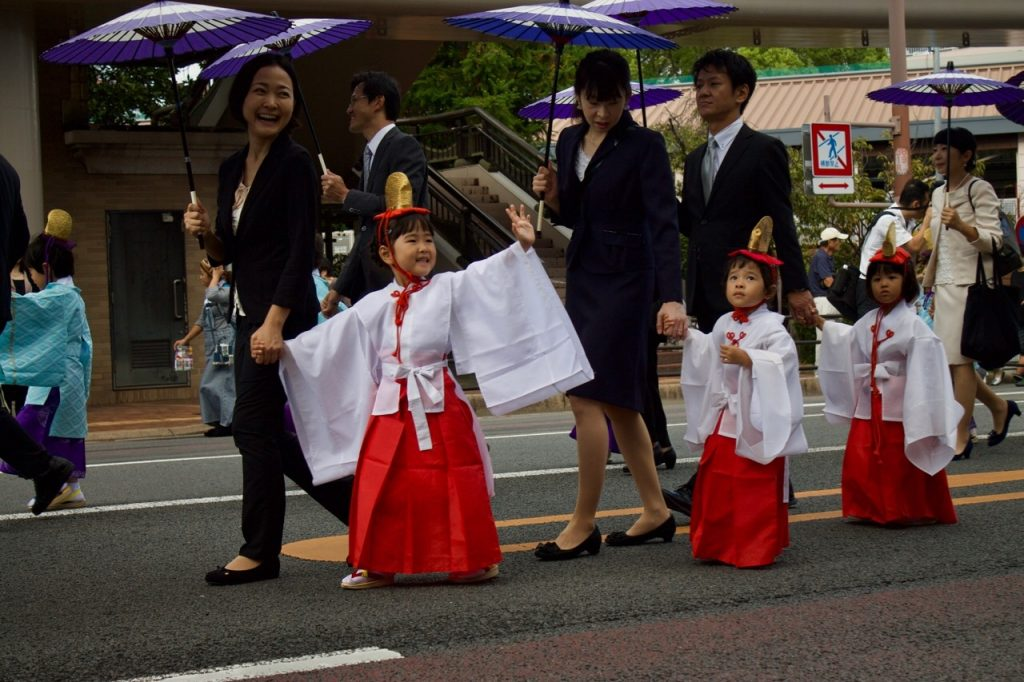 Japanese students in parade