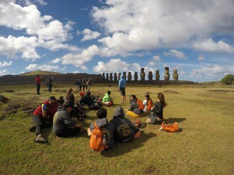 Students on coast of Easter Island