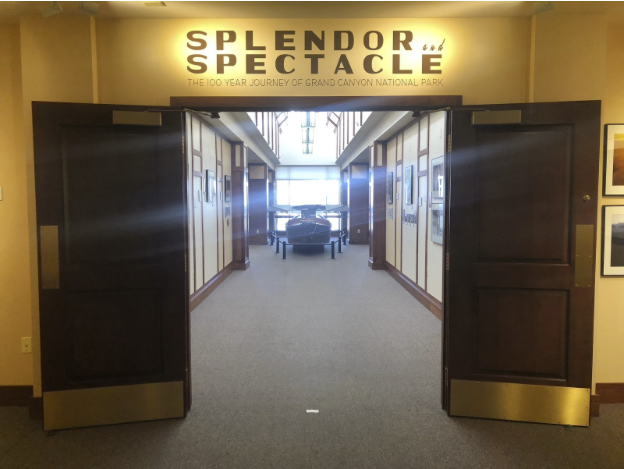 Entrance to Splendor and Spectacle at the Cline Library