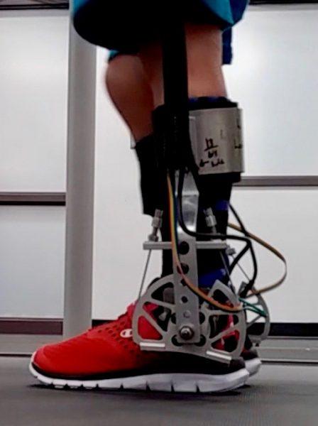 Exoskeleton on a child's leg