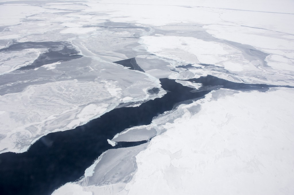 A Coast Guard C-130 flies over the Arctic Ocean during an Office of Naval Research-sponsored study of the changing sea ice, ocean and atmosphere. (U.S. Navy photo by John F. Williams/Released)