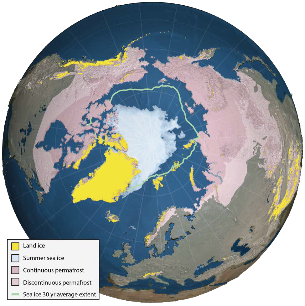 Land ice, summer sea ice and permafrost in the Northern Hemisphere