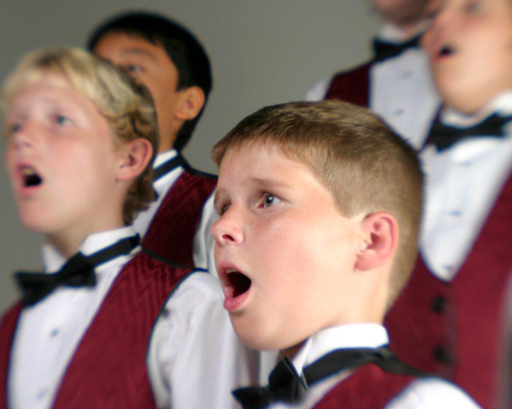 Members of a Boys Choir performing