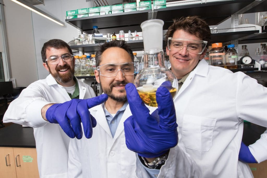 Andy Koppisch, Robert Kellar and Nate Nieto in lab