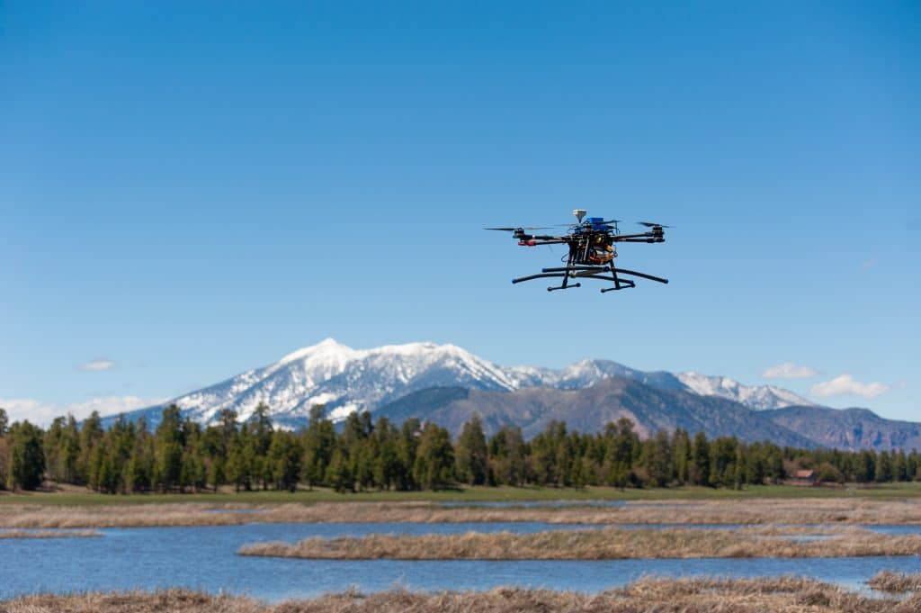 Drone over wilderness area