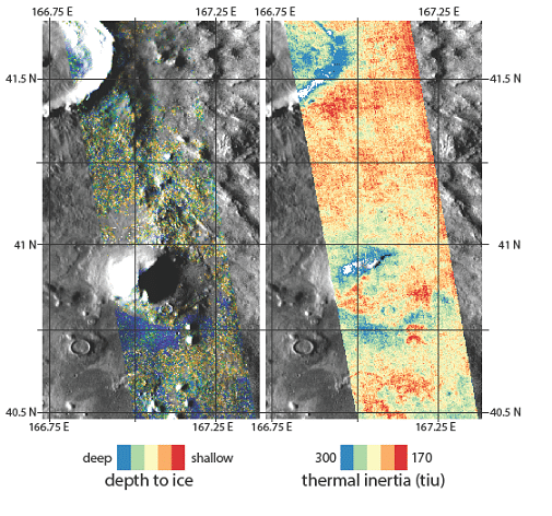 maps of ice on Mars