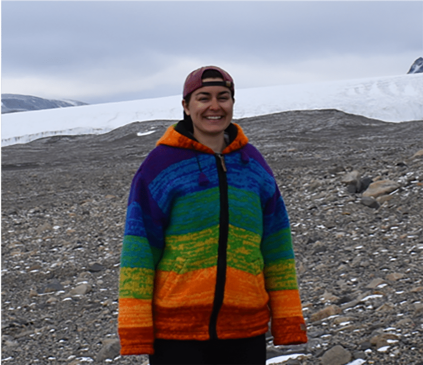 Schuyler Borges does research on hot spring structures on Antarctica.