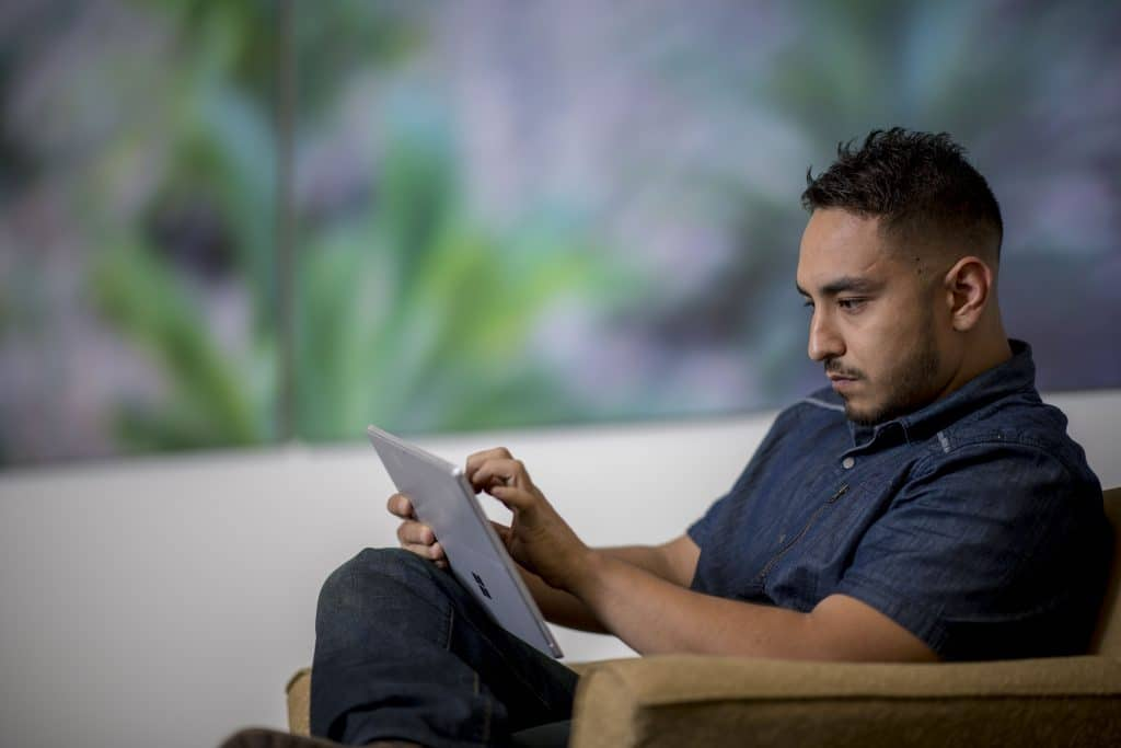 Student working online