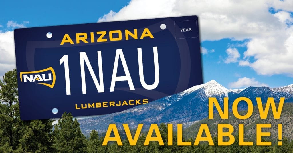 NAU License Plate with mountain background