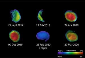 Images capture the Mars moon Phobos during different phases—waxing, waning and full—including the three images recently processed by Edwards.