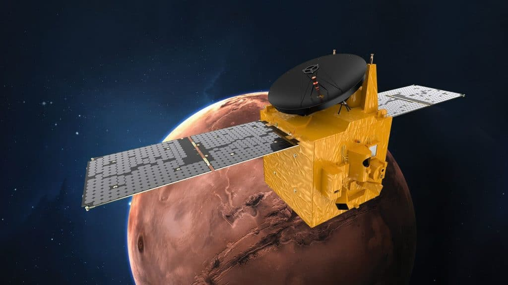 An artist's impression of the United Arab Emirates' Hope spacecraft in orbit around Mars, where it will arrive in February 2021 after launching from Japan.