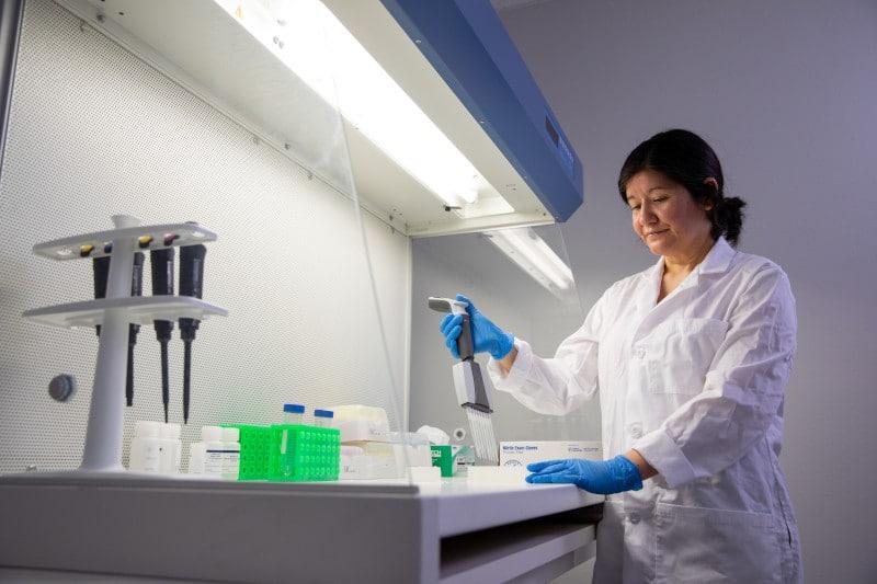 Amanda de la Torre works in her lab.