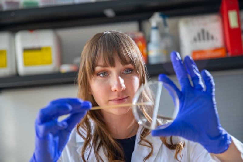 Goldwater award winner Breezy Brock works in the lab