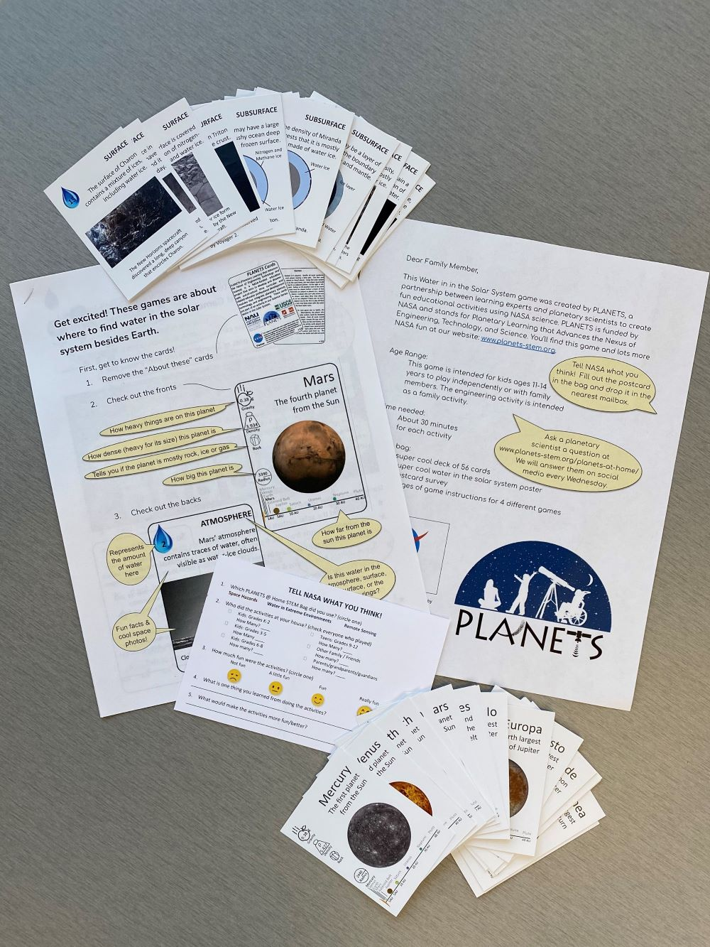 PLANETS materials for at home