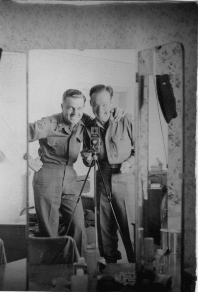 James P. Kuykendall and soldier friend pose in a mirror