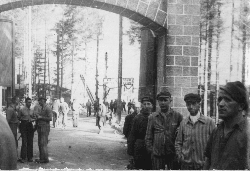 Soldiers and prisoners inside a camp