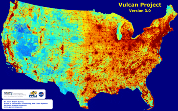 Map features greenhouse gas emissions across the entire U.S. landscape at high space- and time-resolution with details on economic sector, fuel and combustion process