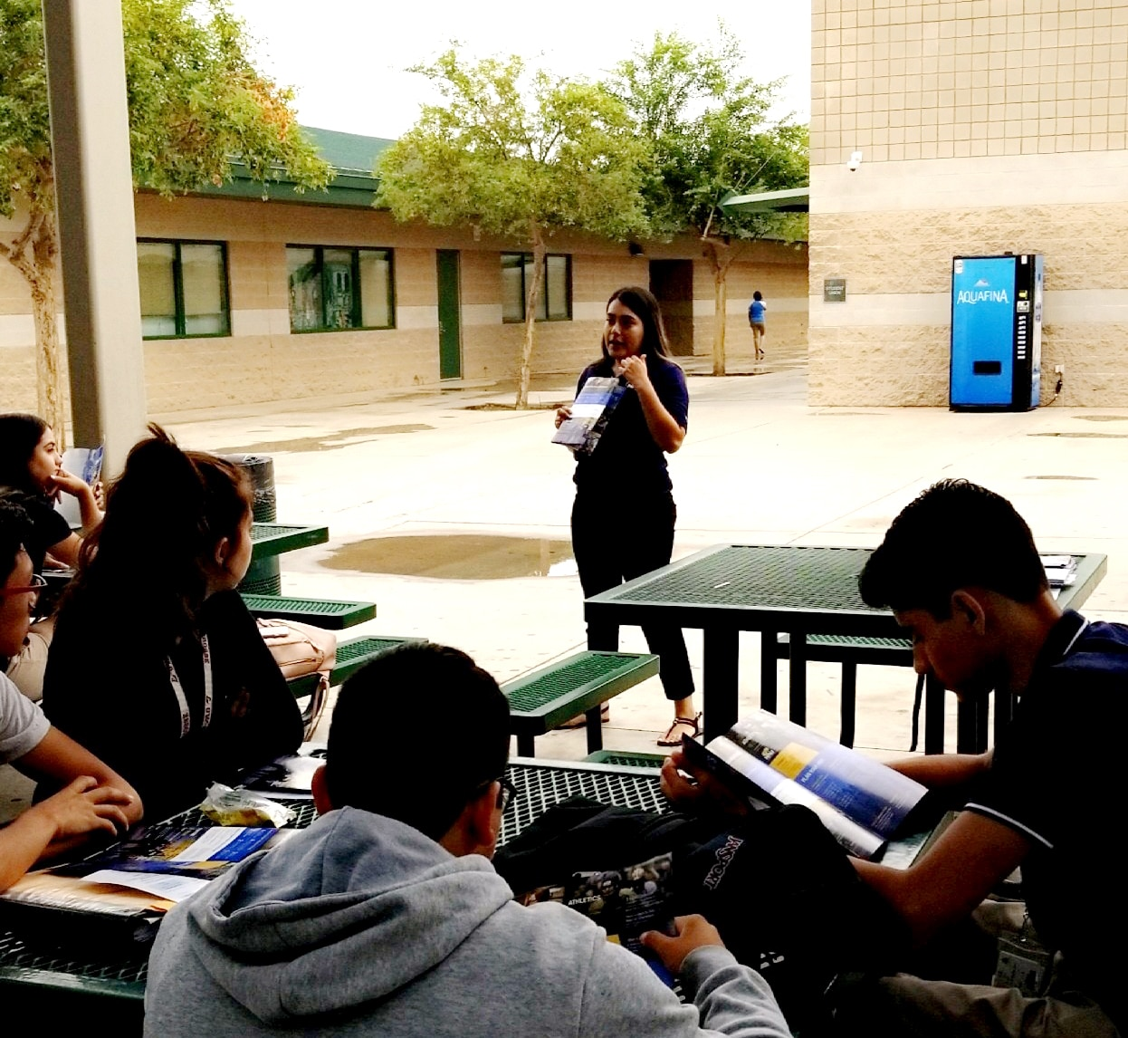 Martinez presenting to a group of students at San Luis High School