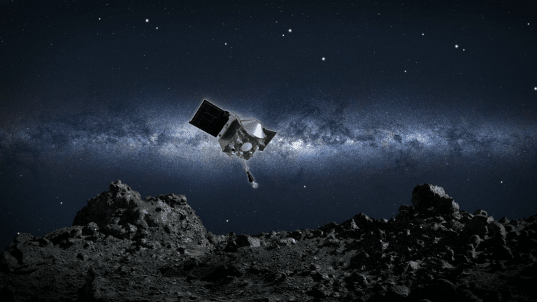 OSIRIS-REx Spacecraft collecting a sample of Bennu