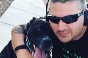 Darren Ellis and his service dog