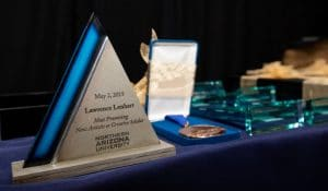 Awards laid out on table