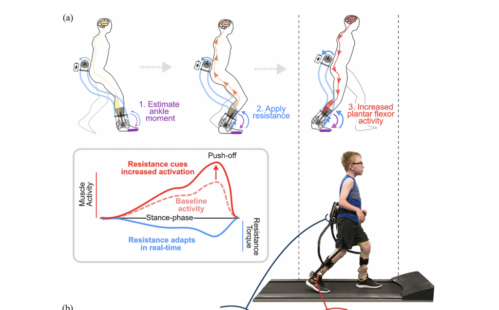 Graphic of a child with cerebral palsy walking