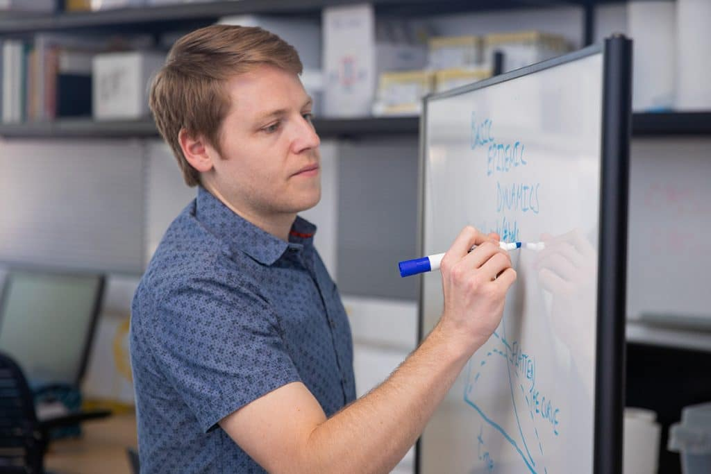 Joseph Mihaljevic working in his lab