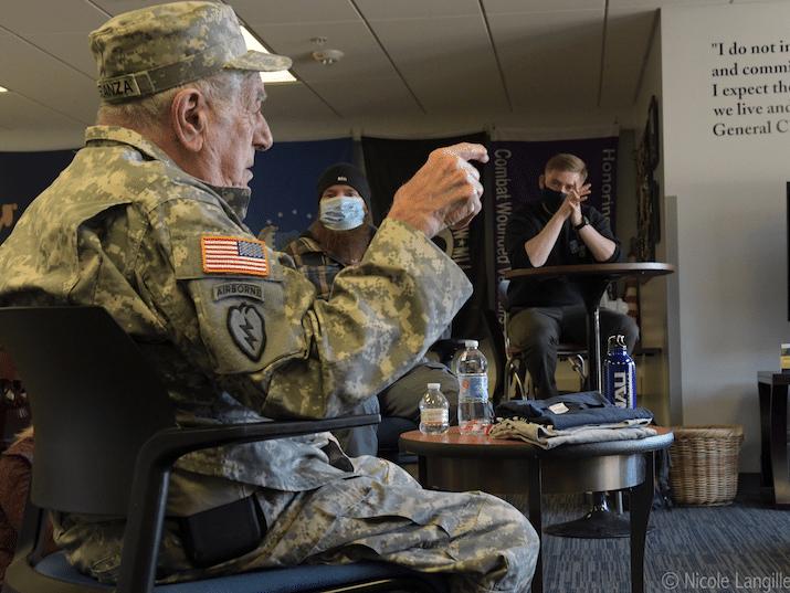Veteran Speranza talks with ROTC students