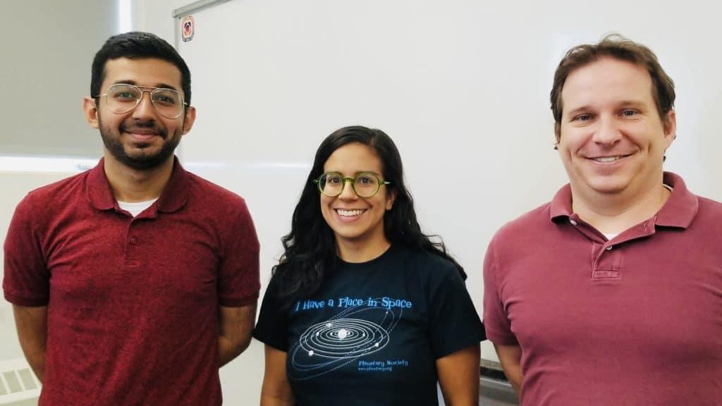 Ahmed AlHantoobi, NAU postdoctoral scholar Jennifer Buz and NAU assistant professor Christopher Edwards