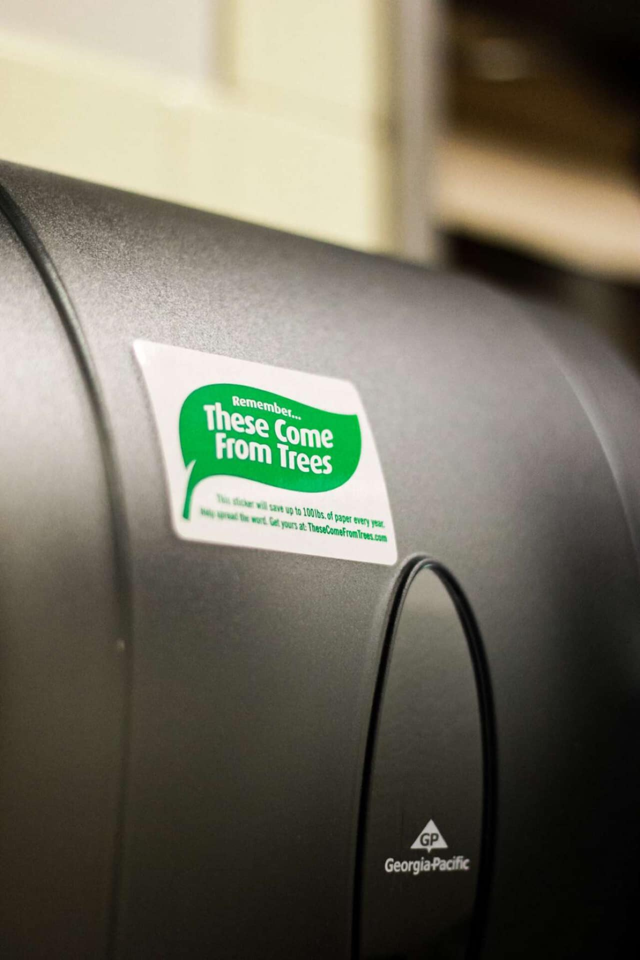 """""""These come from trees"""" sticker close up"""