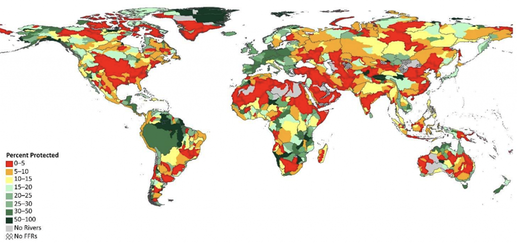 Map of world showing water protection