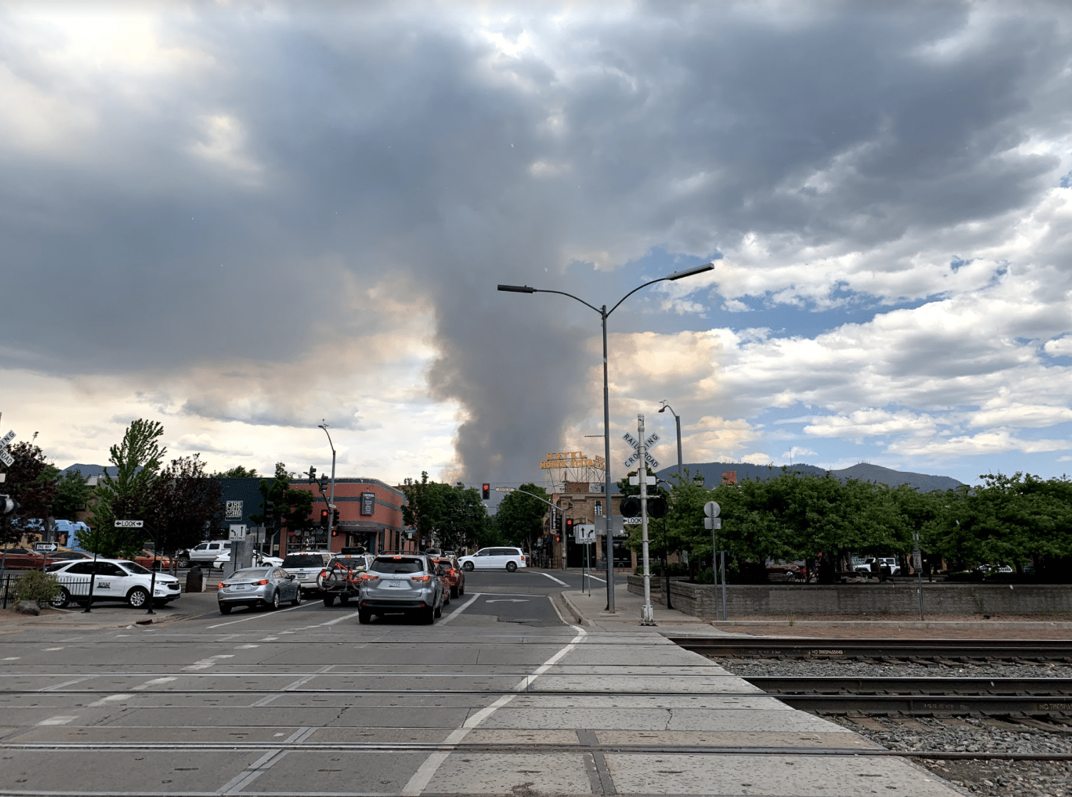 Wildfire from downtown view