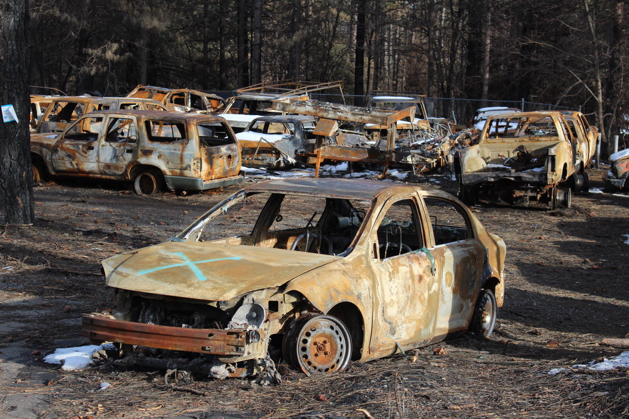 Wildfire damage to cars