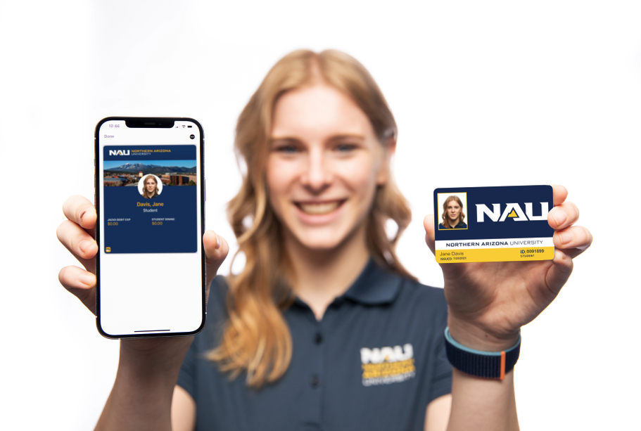 NAU student holding phone and physical ID