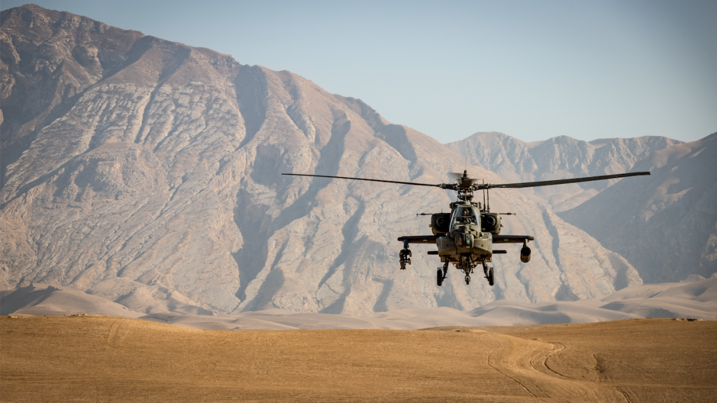 helicopter landing on sand