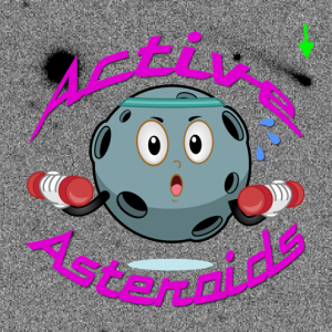 Graphic of Active Asteroids showing an cartoon asteroid lifting weights