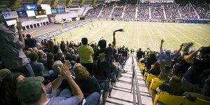 Football fans in the Walkup Skydome stands