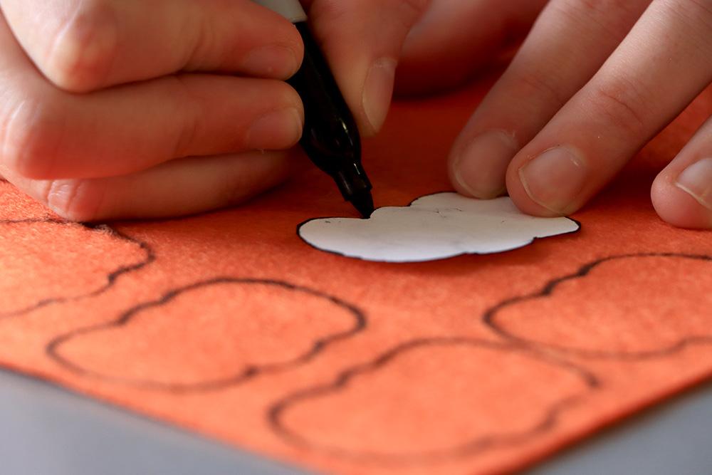 Pumpkin tracing marker on felt