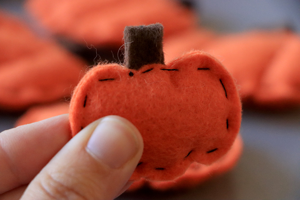 Thread tied to the back of the pumpkin